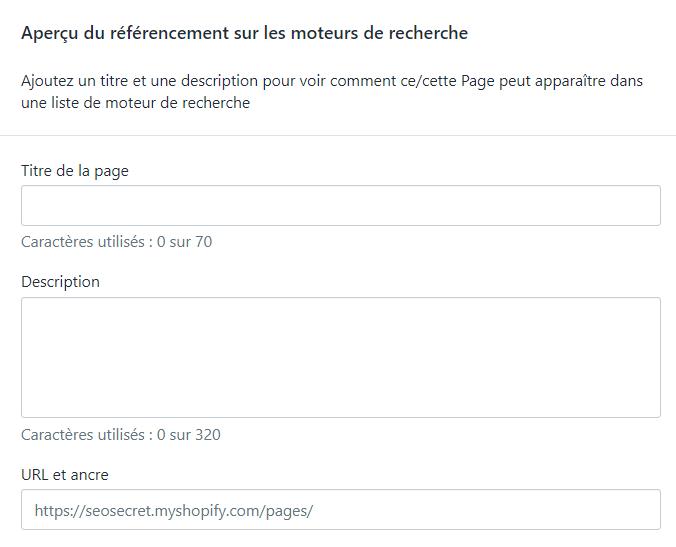 Menu Shopify : titre et description de page