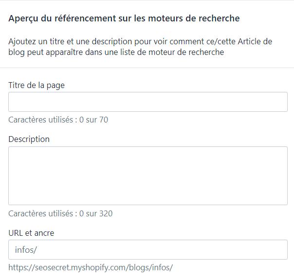 Menu Shopify : Modifier le référencement naturel du site web