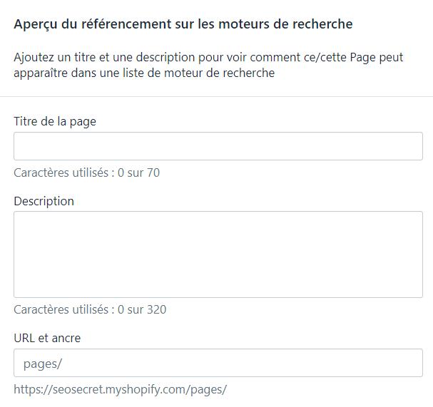 Menu Shopify : aperçu du référencement dans les moteurs de recherche