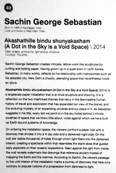40_Sachi George Sebastian_b.1985, India_A Dot in the Sky is a Void Space(2014)