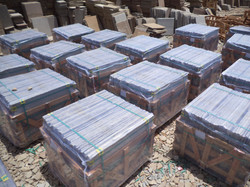 Packed sandstone ready for dispatch.