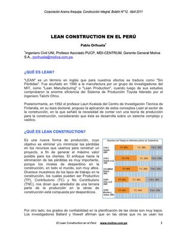 Lean Construction en el Peru