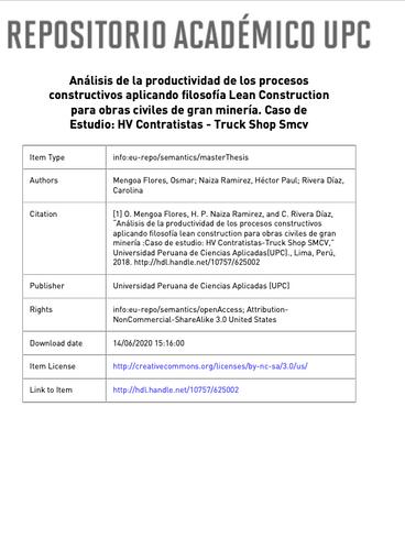 Análisis de la Productividad con Lean Construciton en Mineria