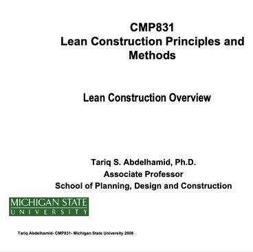 Lean Construction Methods