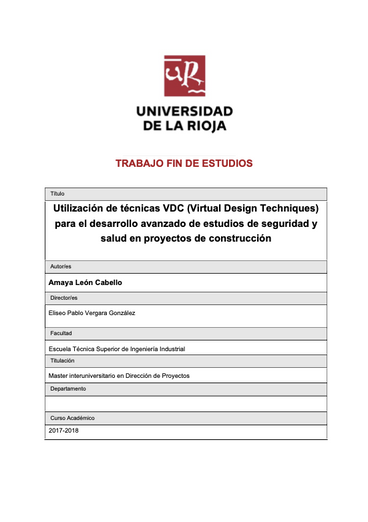 Utilización de VDC para el desarrollo de seguridad y salud en proyectos de construccion