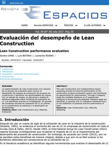 Evaluación del desempeño de Lean Construction
