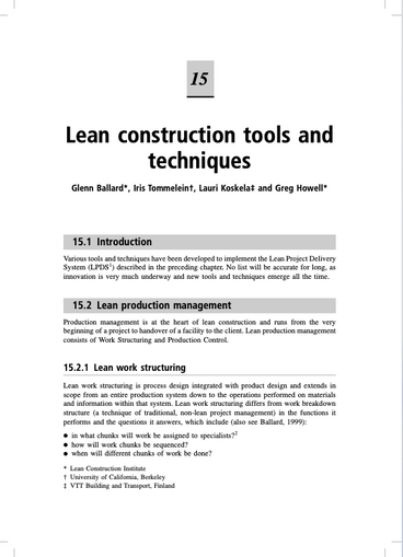 Lean Construction Tools and Techniques