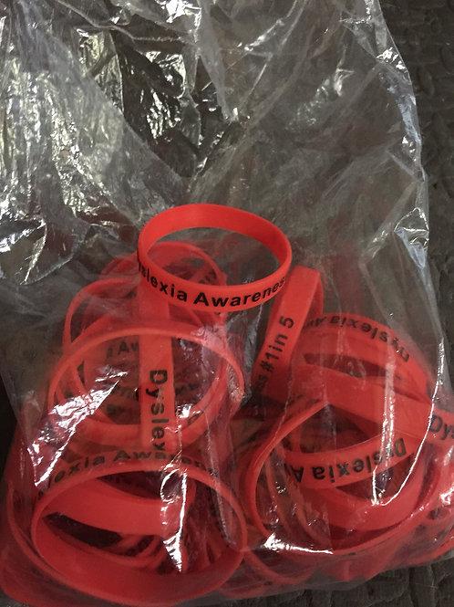 """Dyslexia Awareness silicon red """"Dyslexia Awareness #1in5 bracelet"""""""