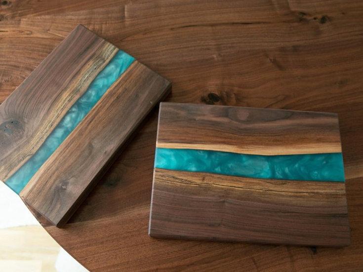 Platouri din lemn cu rasina epoxidica