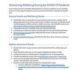 Maintaining Wellbeing During the COVID-19 Pandemic