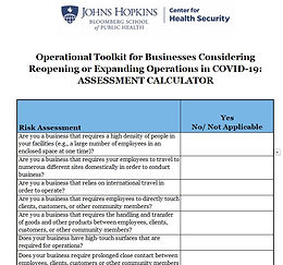 Johns Hopkins Operational Toolkit for Business Reopening - Calculator