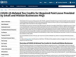 IRS COVID Related Tax Credits