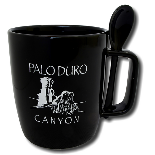 Black Palo Duro Canyon Mug with Spoon