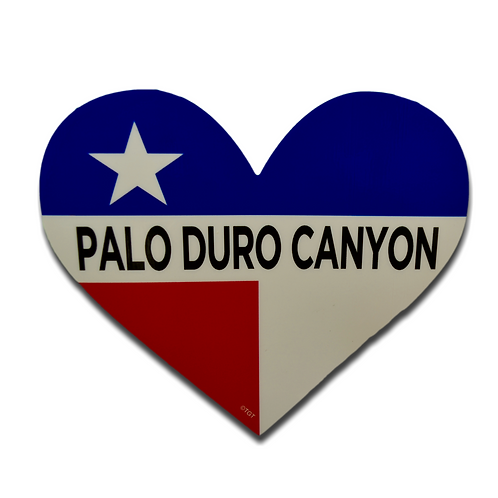 Texas Flag Palo Duro Canyon Heart Decal