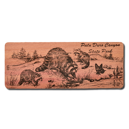 Raccoon Red Cedar Bookmark