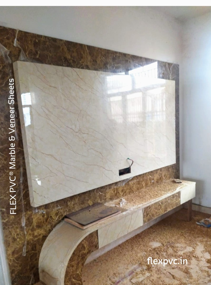 tv backwall cabinet flex pvc marble