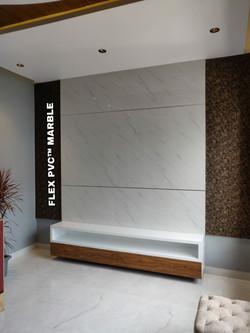tv backgroung flex pvc marble