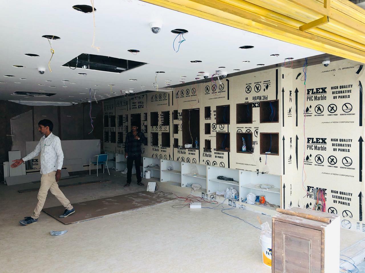 showroom wall progress flex pvc marble