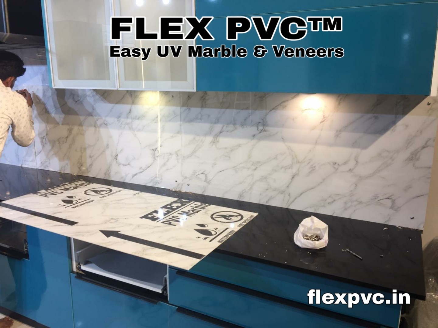 kitchen wall flex pvc marble