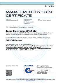 ISO 9001 certification of Jason Electronics
