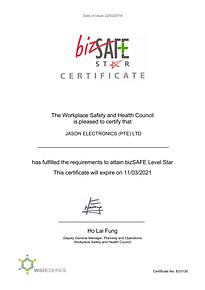 BizSAFE Level Star certification of Jason Electronics