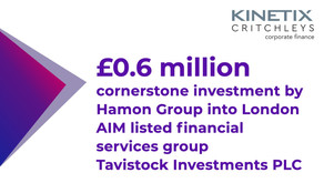 £0.6m investment by Hamon Group into Tavistock Investments PLC
