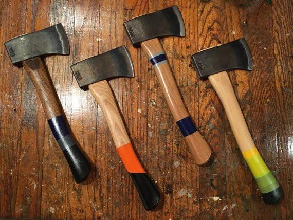 Four custom groomsmen hatchets