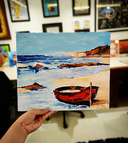 Red Boat (Knife Painting)