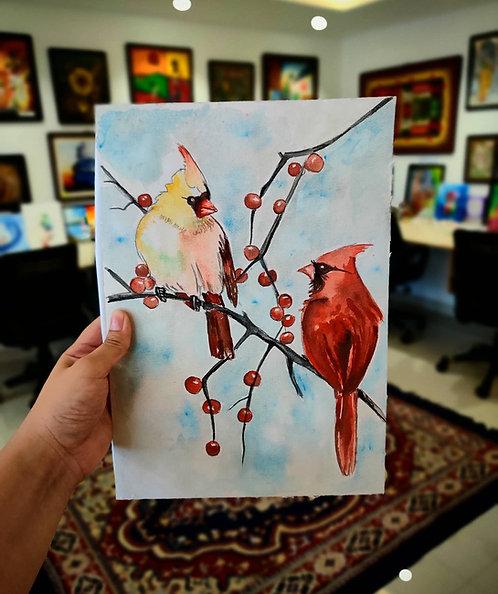 Cardinals (Watercolor)