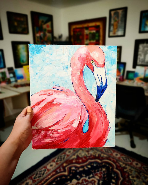 Flamingo Love (Knife Painting)