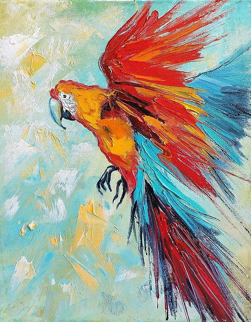 DIY Knife Painting KIT  - Macaw (Medium)