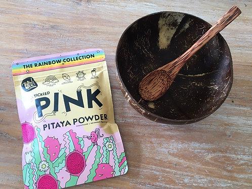 Coconut bowl and spoon and Pink Pitaya Super Powder
