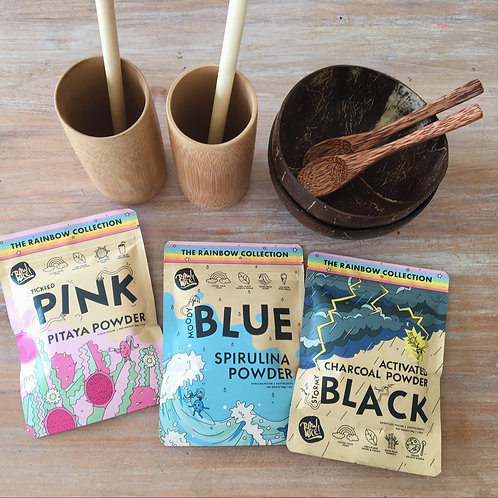 2 pack coconut bowls and spoons and 2 bamboo cups and straws and 3 Super Powders