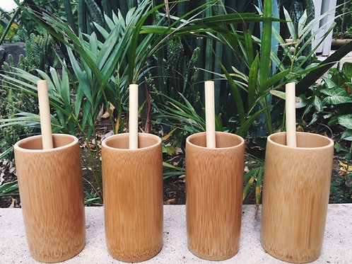 4 Pack Bamboo Cups and Straws