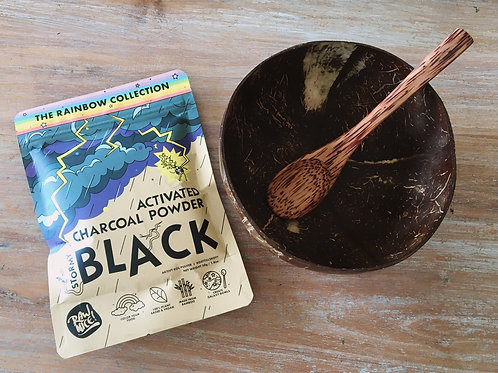 Coconut bowl and Spoon and Activated Charcoal Super Powder