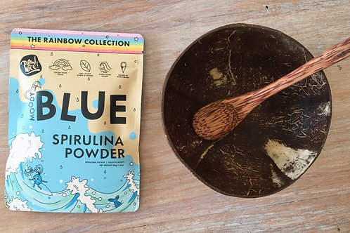 Coconut bowl and spoon and Blue Spirulina Super Power