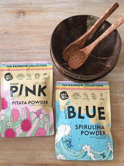2 pack Coconut bows and spoons and TWO Super Powders