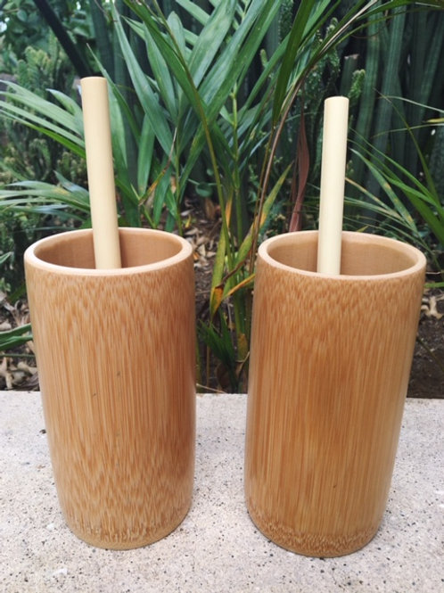 2 Pack Bamboo Cups and Straws
