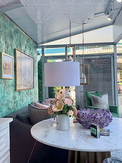 Green and gold Patina walls in a designer setting