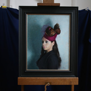 The framed Painting of The Girl in the Pink Winter Hat