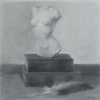 Still life of a Bust, Books and a Feather