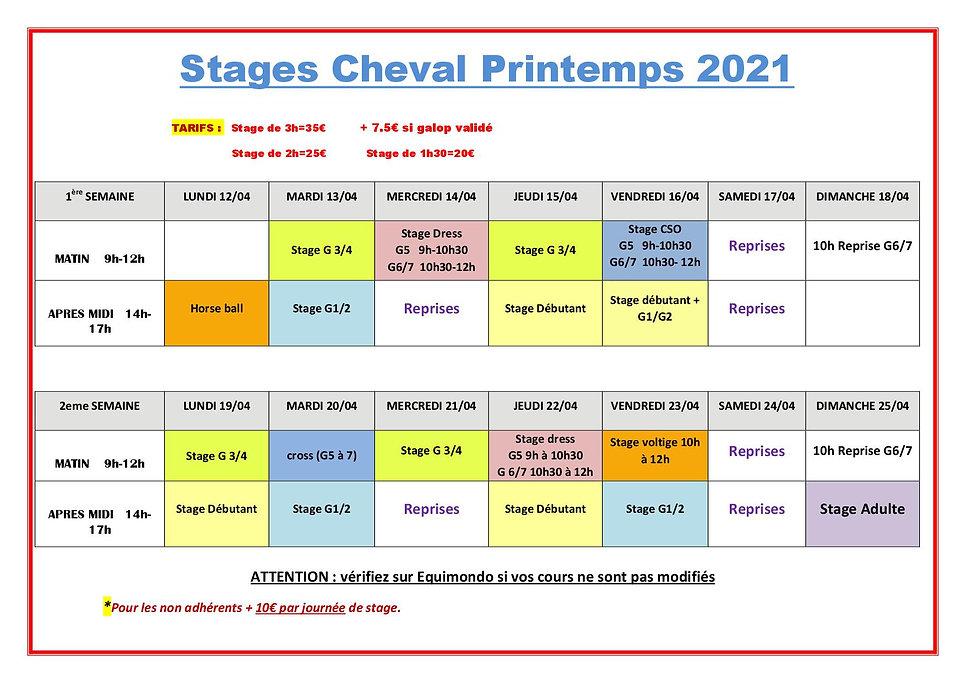 Stages chevaux printemps 2021