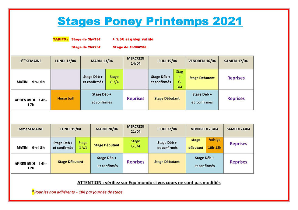 Stage poney printemps 2021