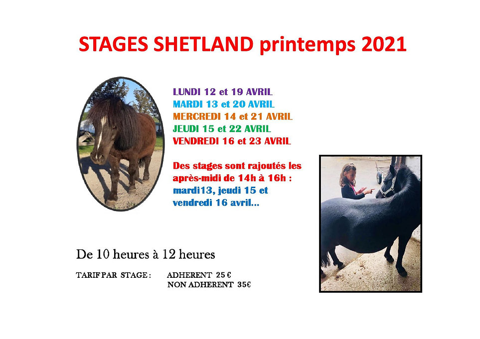 Stages shetland printemps 2021