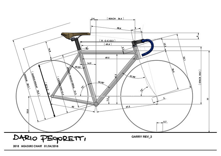 A custom frame design for a Dario Pegoretti Duende with Ciavette paint scheme. After the optimum bike position is realised the we can move onto frame design, working then with the frame builder of choice to make that dream custom bike a reality.
