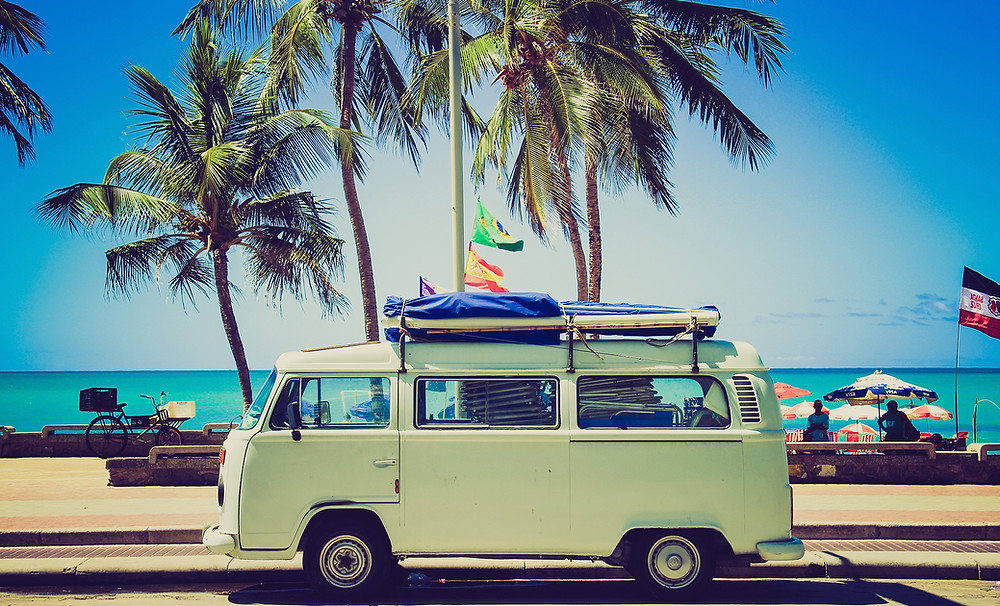 Insta travelling, VW camper van in an exotic location