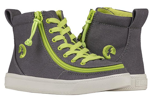Billy Charcoal/Acid Green kid's Classic High Lace