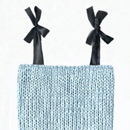 Sky Blue Knit Top with Ribbon