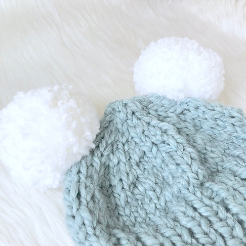 Sky Blue Beanie with Double Pom