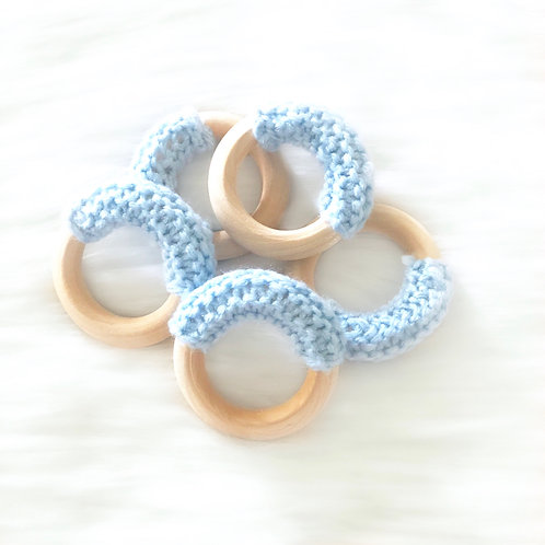 Blue Wooden Teething Ring